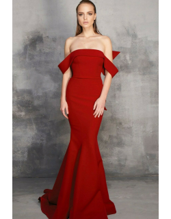 MNM Couture Off Shoulder Fitted Gown