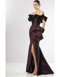 Edward Arsouni Ruffled Off Shoulder Faille Gown