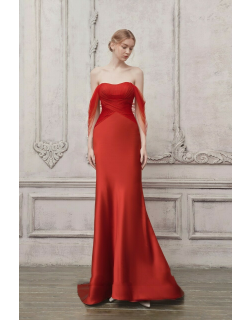 The Atelier Couture Draped Off Shoulder Sheer Sleeve Gown