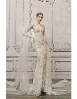 The Atelier Couture Long Fitted Cape Sleeve Gown