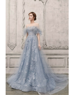 The Atelier Couture Off the Shoulder Illusion Embellished Gown