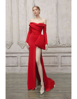 The Atelier Couture Off the Shoulder Long Sleeve Slit Gown