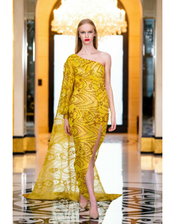 RVNG Couture Sequin Embroidered Slit Gown