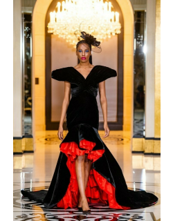 RVNG Couture Velvet Ruffled High Low Gown
