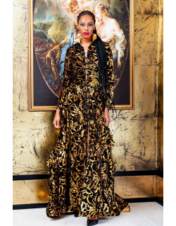 RVNG Couture Velvet Sequin Embroidered Gown