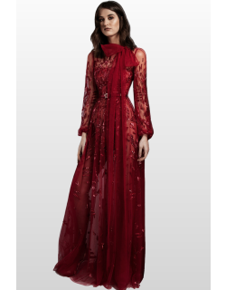 Zuhair Murad Embellished Long Sleeve Gown with Bow