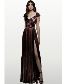 Zuhair Murad Pleated Printed Lame Gown