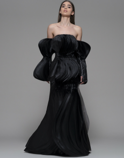Isabel Sanchis Faggeto Off Shoulder Pleated Gown