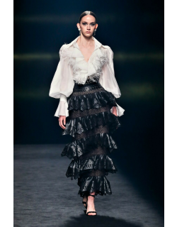 Isabel Sanchis Fenegro Long Sleeve Blouse and Tiered Skirt