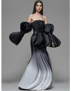 Isabel Sanchis Fiume Off Shoulder Pleated Gown