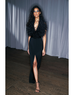 LBV by Elizabeth Kennedy Ostrich Feathered and Sequin Crepe Halter Gown