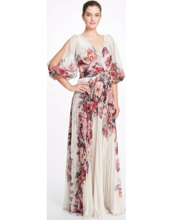Marchesa Notte ¾ Slit Sleeve Printed Chiffon Gown