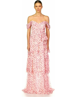 ML Monique Lhuillier Off Shoulder Printed Tiered Gown