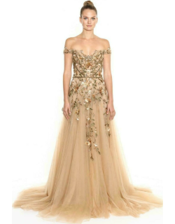 Marchesa Copy of Off the Shoulder Tulle Gown