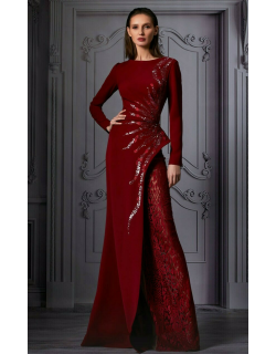 MNM Couture Embellished Split Gown