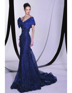 Tony Ward Embellished Lace Trumpet Gown
