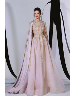 Tony Ward Embroidered Cape Gown