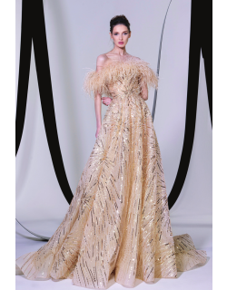 Tony Ward Feathered Off Shoulder Gown