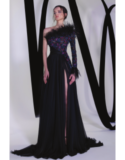 Tony Ward Off Shoulder Tulle Gown