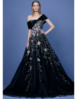 Georges Hobeika Off Shoulder Beaded Tulle Gown