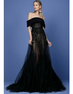 Georges Hobeika Off Shoulder Crepe Collar Beaded Tulle Gown