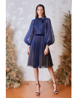 Gatti Nolli by Marwan Long Puff Sleeve Top and Pleated Skirt