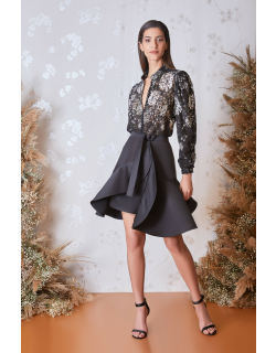 Gatti Nolli by Marwan Long Sleeve Floral Top and Mini Skirt