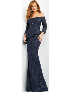 Jovani Lace Off the Shoulder Evening Gown