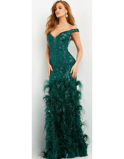Jovani Embellished Feather Evening Gown