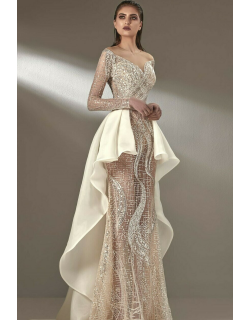 MNM Couture Illusion Neck Embellished Gown
