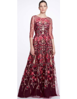 Marchesa Notte Boat Neck Sequin Embroidered Tulle Gown