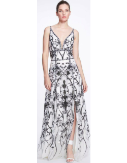 Marchesa Notte Sleeveless V-Neck Sequin Embroidered Gown