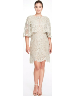 Marchesa Boat Neck Lace Knee-Length Dress with Cape