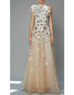 Elie Saab Bead Embroidered One Shoulder Gown