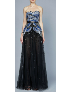 Elie Saab Bead Embroidered Strapless Gown