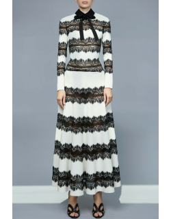 Elie Saab Knit and Lace Gown