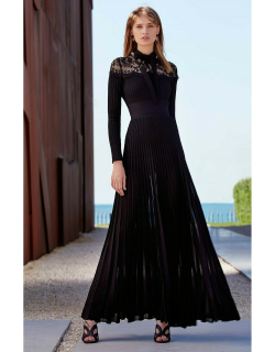 Elie Saab Knit and Lace Long Sleeve Gown