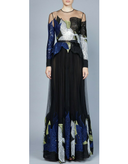 Elie Saab Yarn Embroidered Long Sleeve Gown