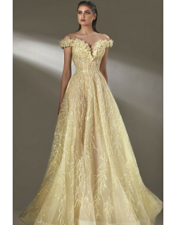 MNM Couture Embellished Off Shoulder A-Line Gown