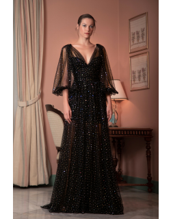 Gemy Maalouf Sequined Tulle V-Neck Gown