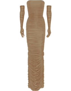 Alex Perry Huntley Strapless Ruched Column w/ Gloves