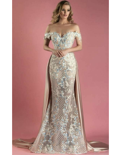 MNM Couture Beige Off the Shoulder Gown