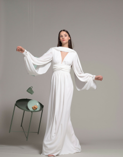 Isabel Sanchis Draped Sleeve White Evening Gown