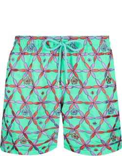Men Swim Trunks Embroidered Indian Ceramic - Limited Edition - Swimwear - Mistral - Green