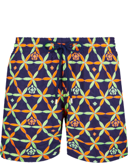Men Swim Trunks Embroidered Indian Ceramic - Limited Edition - Swimwear - Mistral - Blue