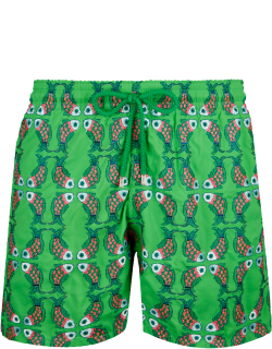 Men Swim Trunks Embroidered Sweet Fishes - Limited Edition - Swimwear - Mistral - Green