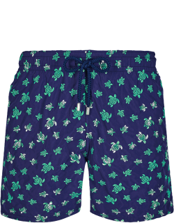 Men Swim Trunks Embroidered Micro Ronde Des Tortues - Limited Edition - Swimwear - Mistral - Blue