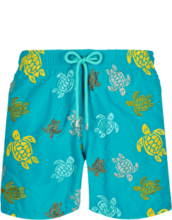 Men Swim Trunks Embroidered Ronde Des Tortues - Limited Edition - Swimwear - Mistral - Blue