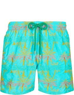 Men Swim Trunks Embroidered 1990 Striped Palms - Limited Edition - Swimwear - Mistral - Blue