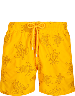 Men Swim Trunks Embroidered Vilebrequin Turtles 50 - Limited Edition - Swimwear - Mistral - Yellow